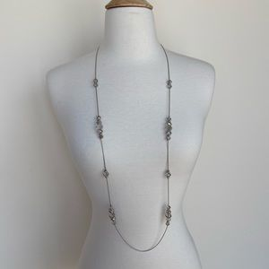 Jewelry - Silver Long Faceted Bead Necklace